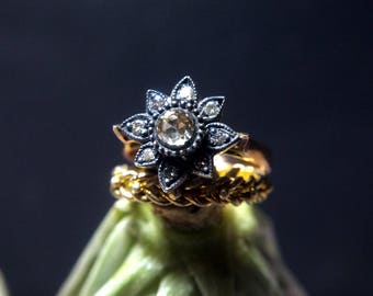 Rose Gold Rose Cut Diamond Ring Vintage 8k