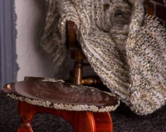 Miniature Agate Table (Orange/Brown Agate) -- Dollhouse Miniature 1:12 Scale