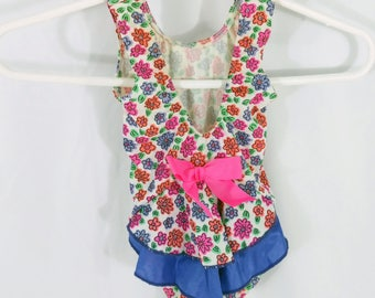 Vintage 90s Toddler One-piece Swimsuit / Floral pink bow / Size 3T