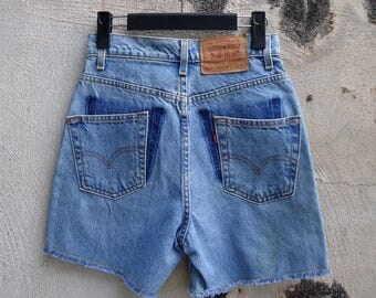 Size 26 USA 90s Levis 521 Shorts High Waisted Cutoffs Denim Frayed Bottom Pocket Shift Red Tab 1990s Levis Jeans Waist 26
