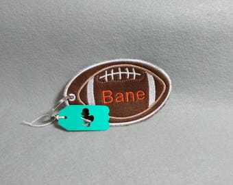 Boys personalized football zipper or Backpack pull keychain