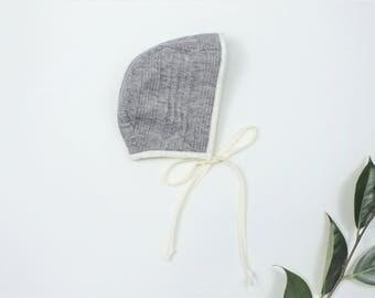 Gray Knit Bonnet, Gender Neutral Baby Bonnet, Ivory Cotton Lined Bonnet