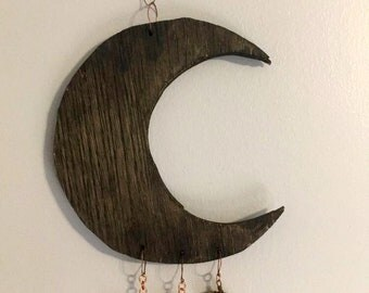 Crescent Moon and Crystals Wall Decor, Boho Wall Decor, Hanging Wall Art, Crystals Home Decor, Boho Decor, Nursery Wall Art Decor, Moon art