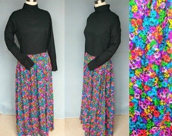 poppies / 1970s hostess dress with rainbow floral print skirt / 10 12 medium