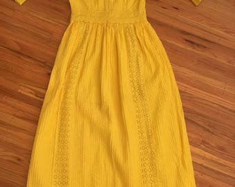 1960's sunflower yellow Mexican wedding dress