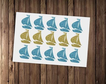 20 Sailing Boat Stickers, Blue Glitter Envelope Seals, Nautical Party Decor  For Envelopes,