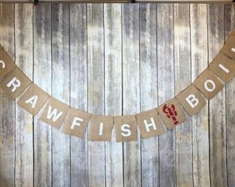 Crawfish Boil Banner, Crawfish Boil Party, Crawfish burlap Banner, Crawfish, Crawfish Boil Decor, Crawfish Boil Party Decor