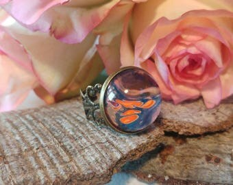 Round ring, vintage ring, orange blue ring, hand painted ring, adjustable ring, glass cabochon ring, handmade jewelry, handmade ring, ring