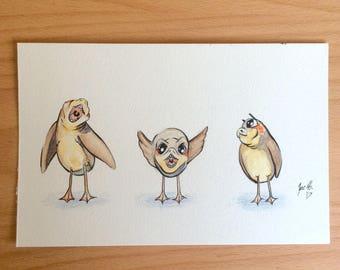 "3 Little Porgs 5.5"" x 8.5"" Watercolor Illustration"