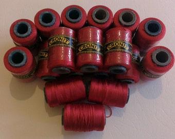 18 x 1oz Balls Vintage Cronit - Rayon Lace Weight Thread  Scarlet