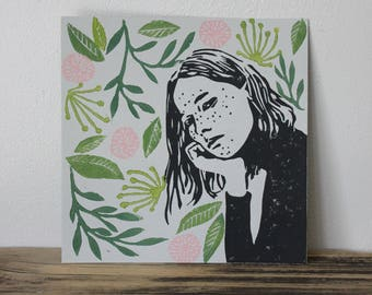Day Dreamer With Plants #3 Square Lino Print