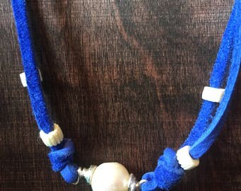 Fresh Water Pearl Necklace W/Blue Leather Cord