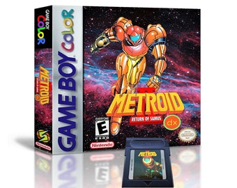 Metroid II DX Colorized & Case - Nintendo Game Boy GBC (Deluxe Color Upgrade) Gameboy Samus - Custom