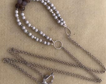 Long Hanging Agate Necklace