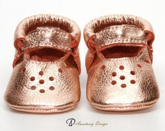 Baby Moccasins, Leather Baby Shoes, Rose Gold Mary Jane Moccasins, Toddler Moccasins, Baby Girl Shoes Genuine Leather Baby Shoes, Mary Janes