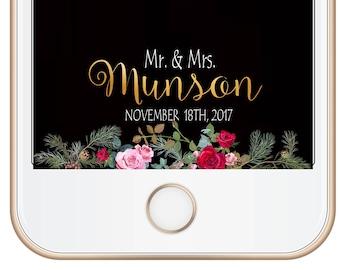 WEDDING SNAPCHAT GEOFILTER, Wedding Snapchat Filter,Floral Snapchat Filter,Custom Snapchat,Greenery Flowers Snapchat Filter,Script Snapchat