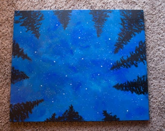 Starry Sky through the Forest Trees, 20 x 24 acrylic on canvas, original painting