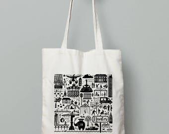 """Tote bag original. Printed illustration """"Nantes"""""""