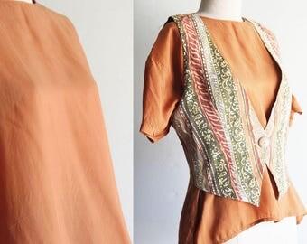 Vintage Rust Silk Blouse Size L
