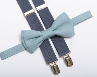 Light Blue bow tie & Gray suspenders Boys braces Mens Bow tie and braces Toddler bow tie suspenders Ring bearer outfit Wedding outfit Bowtie