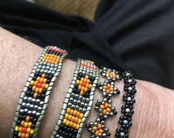 Hand Beaded Navajo Style with 2 Separate Pieces. 1 Piece as a Hatband and Choker Signature Harley Davidson Colors.