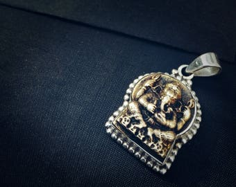 Antique Ganesh brass and silver pendant