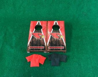 Arizona Cardinals Mini Table Top Cornhole Boards with mini cornhole bags