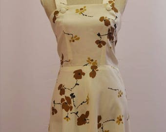 Mothers day gift 1960's handmade floral pinafore dress. Retro day dress great for mods