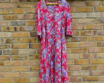 Long Sleeved Red & Lavender Floral Dress