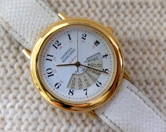 Guess Georges Marciano 1988 Quartz watch with white leather band