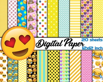 20 Emoji DIGITAL Paper-Smiley Face Scrapbooking Paper-Emoji Collection Party Decor-Printable Emoji Sheet-Emoji Paper Decoration-Yellow Paper