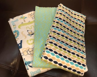 Baby Burp Cloths (3-pack), Jungle Animals and Stripes Baby Shower Gift