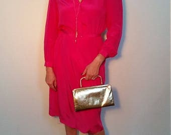 1980s Hot Pink Diane Von Furstenberg Dress // 80s DVF Silk Dress. Secretary Dress. Belt Size Large.