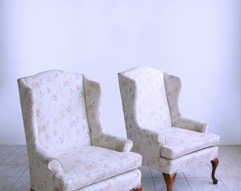 sam moore QUEEN ANNE style fireside ladies PETITE wingback chairs hollywood regency chippendale