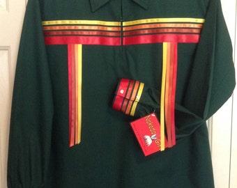 Native American Regalia *Nakoda Made* Traditional HUNTER GREEN Pow Wow Ribbon Shirt Size Large