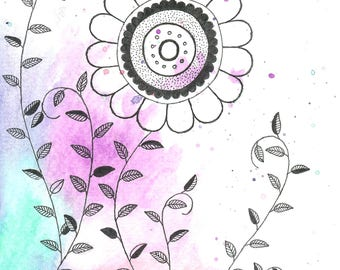 Watercolor Floral Card-Design 4