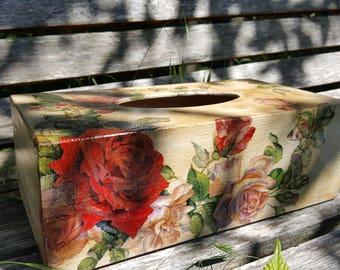 Wooden Tissue Box Cover Kleenex Box Cover Tissue Box Tissue Dispenser Box Holder Napkins Vintage Red Roses Shabby chic Home Decoration New