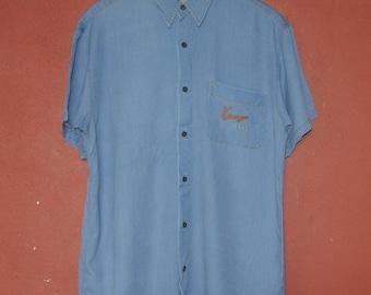 Vintage KENZO JEANS Shirt size Medium / Large / 1990s Kenzo button Up shirt / Vintage Japanese designer high fashion Party Beach shirt