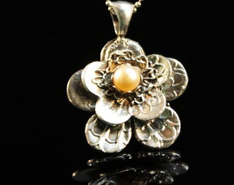 Clearance fine silver flower pendant with pearls, gift for her, delicate handcrafted designer pendant- 4g (BLK107)