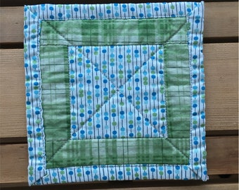 Blue Green Abacus Quilted Mug Rug Fabric Coaster 5""