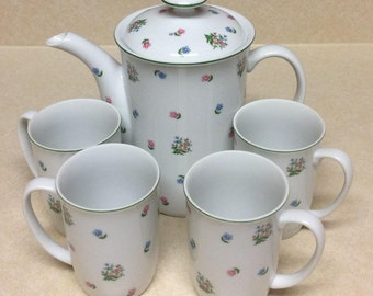 Andrea By Sadek Petite Fleur Pattern Porcelain Tea Set Of 6 Pieces Made In Japan