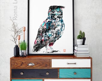 Living room art Large poster Digital artwork Modern wall art Owl art print Black white poster Woodlands wall art Print Owl poster Owl decor