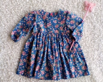 Floral long sleeve dress/  Blue / little girl dress / elastic wrist / party dress / winter / summer / birthday outfit/ girls clothing / baby