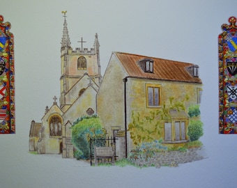 Cotswold village church and stained glass window sketch