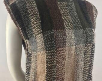 Vintage J.G. Hook Hand Knit 100% Wool Cropped Sweater Vest with Brown Plaid Design/Size Medium