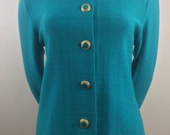 Vintage St. John by Marie Gray Teal Blazer with Ornate Buttons/Size 12 Large