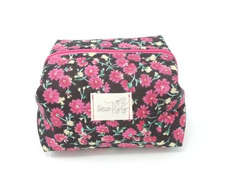 Black Floral Make up Bag/Cosmetic Bag/Box Pouch