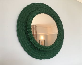 Rare Braided Green Rattan/Wicker Mirror Sun/Flower Shaped French 1960s