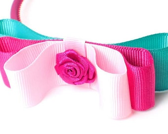 Pink bow headband girls hair bows headbands for girls hot pink alice band bow hair band child bow headband top kids accessory pink bow band