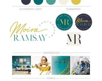 Premade Branding Kit, Event Planner Logo Set Initial Monogram Logo, Custom Logo Design Marketing Package Business Logo Kit Blog Header